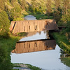The covered bridge captured in late afternoon light