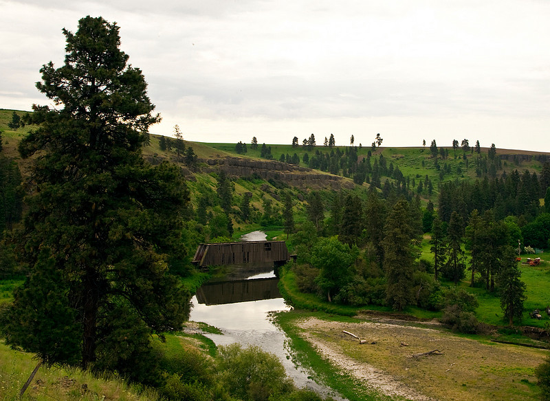 A covered Bridge, somewhat worn and weatherbeaten, but still in use near Palouse, WA