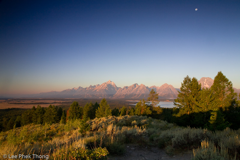 Early morning Sunrise view of the Grand Tetons.