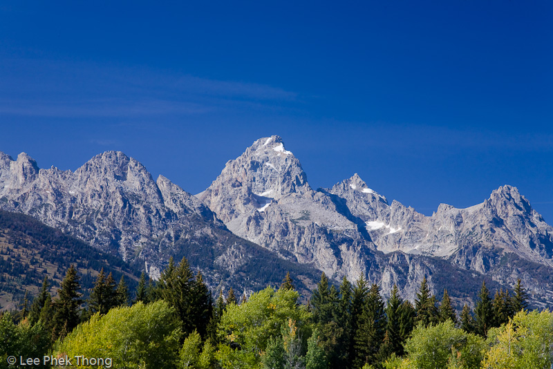 View of the Teton peaks from the visitor center