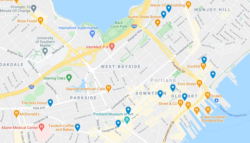 Map of Coffee Shops in Portland Maine