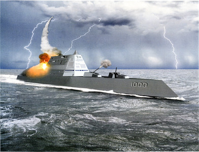 DDG-1000 Zumwalt Destroyer being built at the Bath Iron Works. It is the biggest and most expensive destroyer ever built by the U.S. Navy.