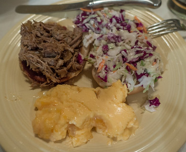 Wednesday dinner (ME's homemade pulled pork and coleslaw)