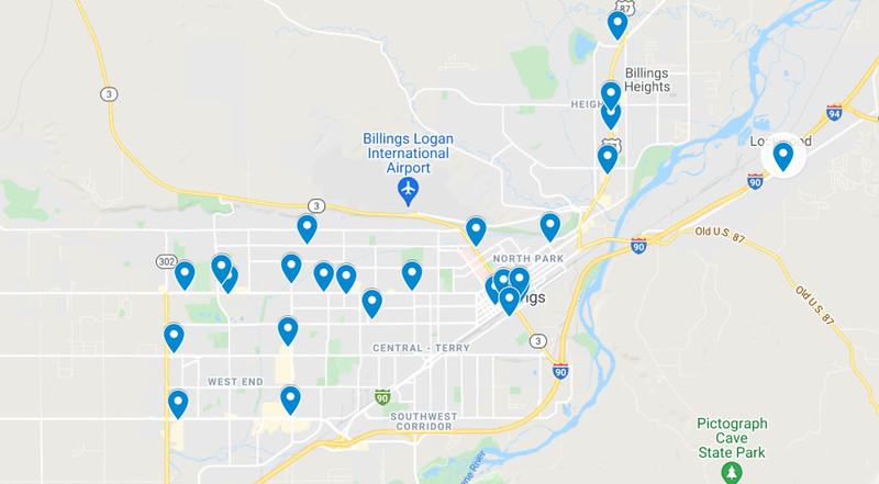 Map of Billings Coffee Shops