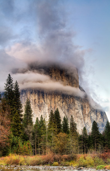 Dances with the clouds..   Clouds hovering around the famous El Capitan in Yosemite National Park, California, USA