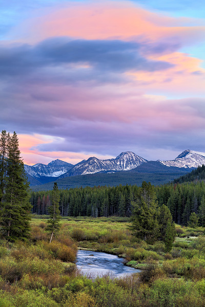 Sunset in Rockies while driving along backcountry roads in western Montana, USA