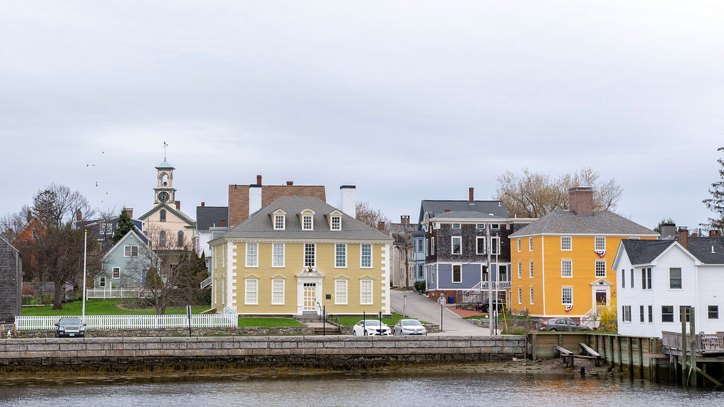 Views of downtown Portsmouth New Hampshire from the outskirts of Peirce Island