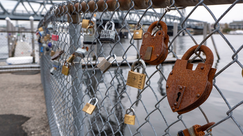 Love locks in Prescott Park, Portsmouth New Hampshire - What to do in Portsmouth