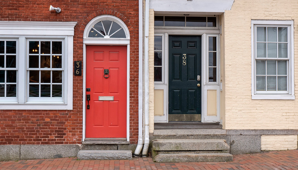 Colorful doors and buildings in Portsmouth New Hampshire