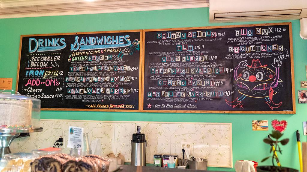 Albany Itinerary - Berben & Wolff's vegan menu board
