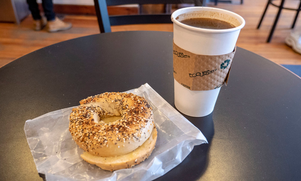 Vegan breakfast - bagel and Earth Balance and a coffee at Stacks Espresso Bar, Albany NY