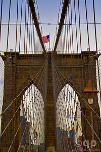BROOKLYN BRIDGE AND FLAG