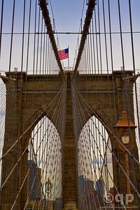 BROOKLYN BRIDGE AND FLAG