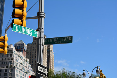 Central Park Sign in front of Columbus Circle