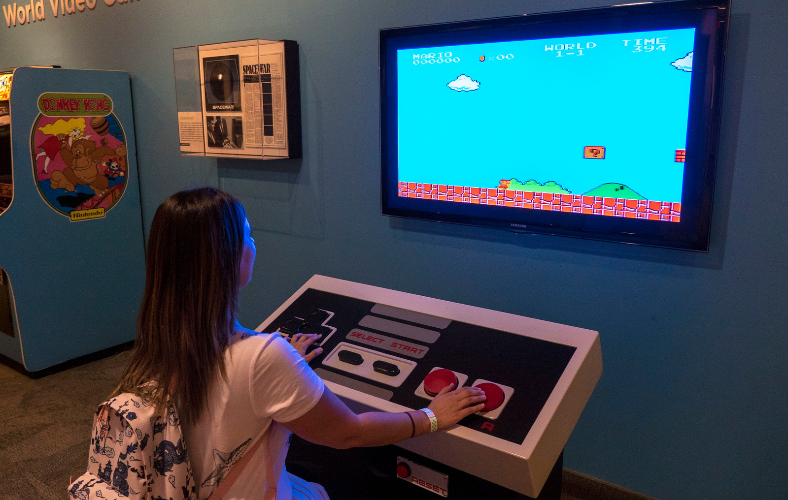 Gigantic Nintendo controller to play Super Mario Bros on NES at the Strong Museum