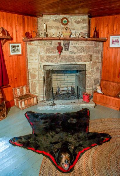 Bear Rug & Fireplace, Camp Pine Knot