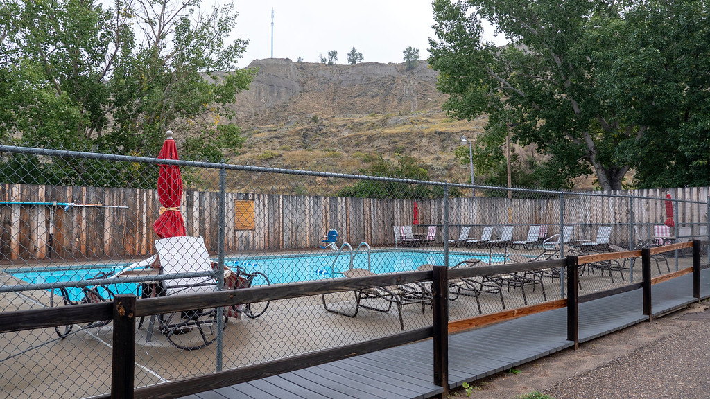 Badlands Motel in Medora swimming pool - North Dakota road trip - Hotel in Medora ND