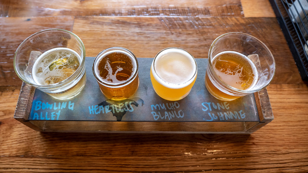 Stonehome Brewing Company - a beer flight - things to do in North Dakota - restaurants in Watford City