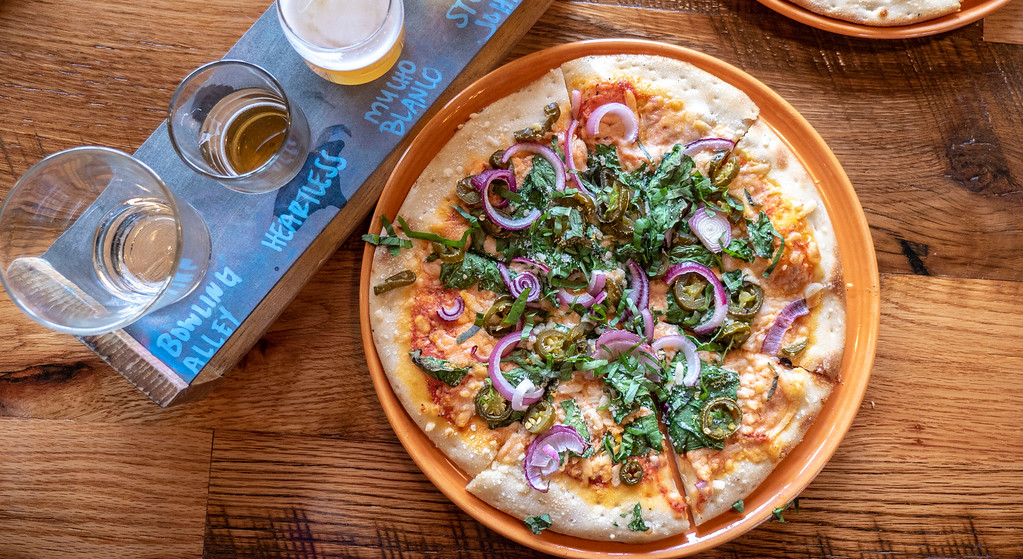 Pizza and beer at Stonehome Brewing Company in Watford City, ND - North Dakota road trip