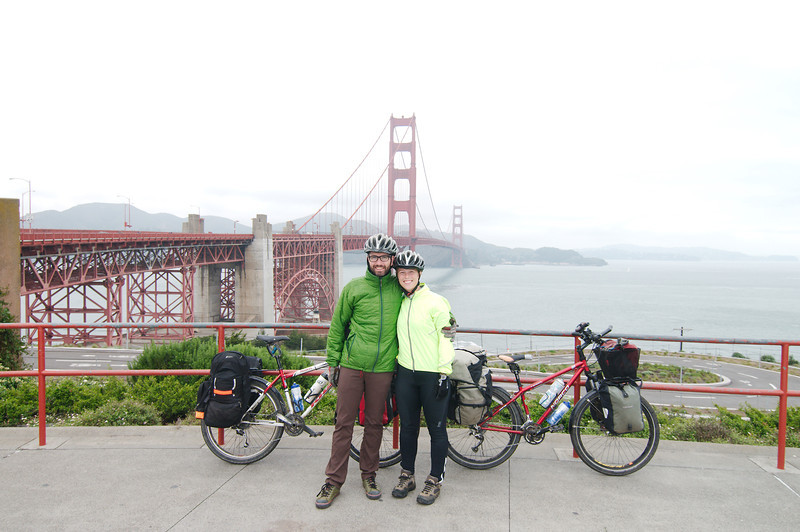 Posing with the iconic Golden Gate Bridge
