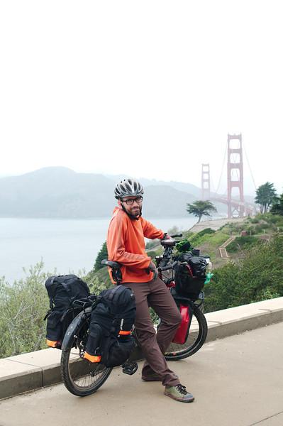 Leaving San Francisco across the Golden Gate Bridge