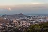 Diamond-Head-and-Waikiki-at-sunset,-Honolulu,-Oahu