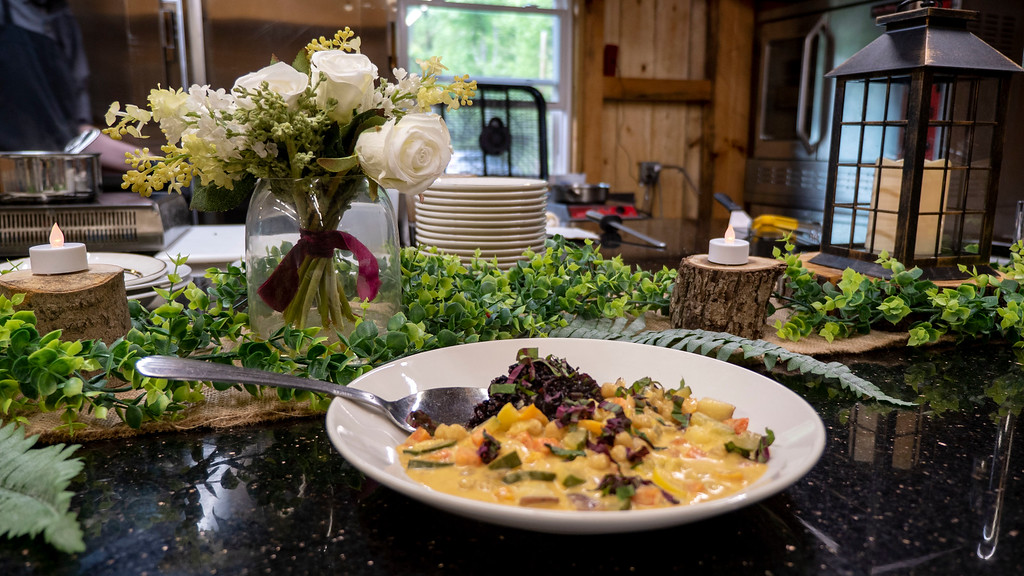 Vegan dining at The Mohican treehouses and wedding venue in Ohio