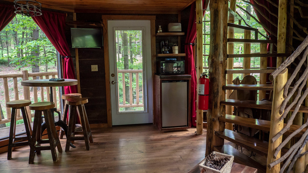 Interior of El Castillo treehouse in Ohio at The Mohicans