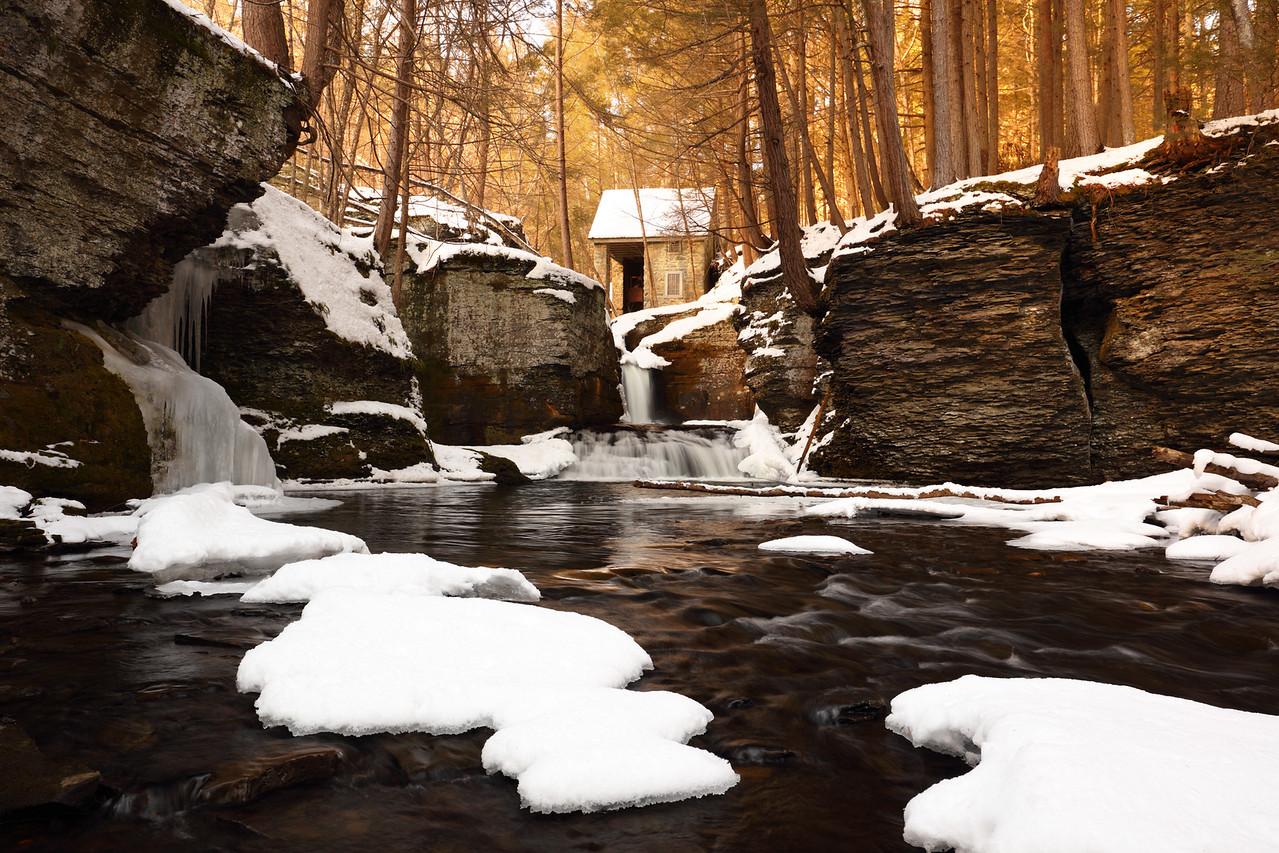 Historic Aspinall Wheelhouse, Adams Creek Falls and Ice