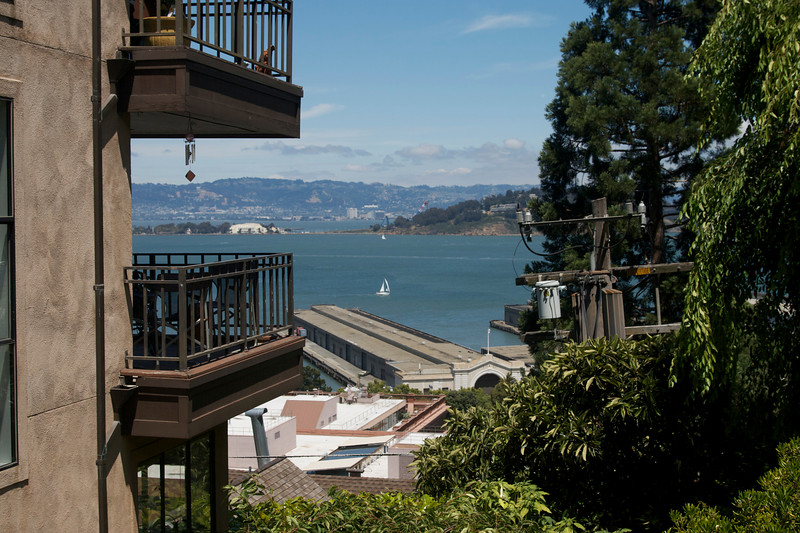 View of Piers and the sea from Filbert stairs/street.