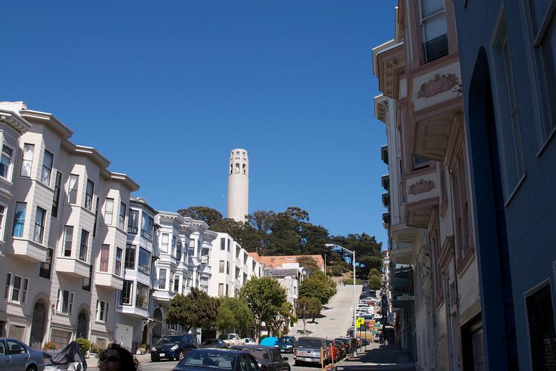 Coit tower from Filbert Street.