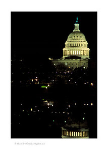 US Capitol Dome at night and reflection, Washington, DC
