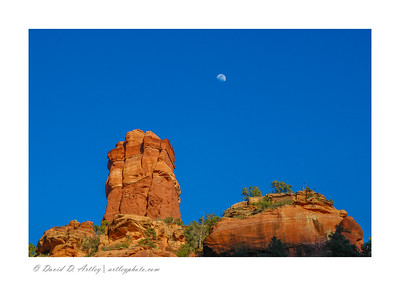 Red rocks and moon