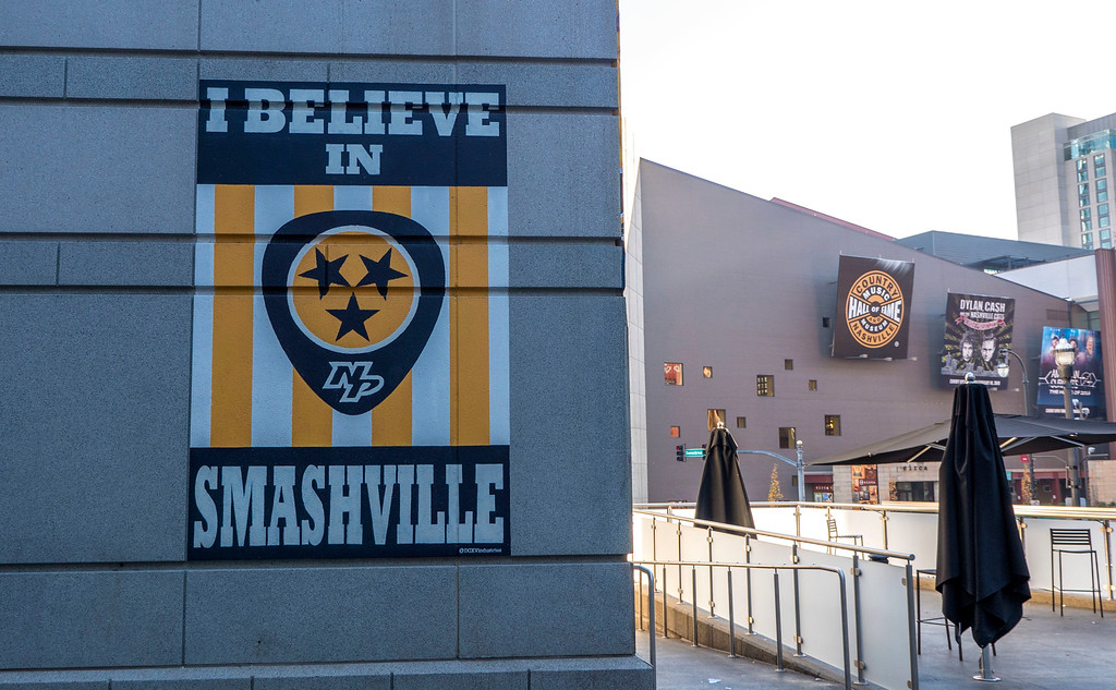 I Believe in Smashville mural at the Bridgestone Arena in Nashville