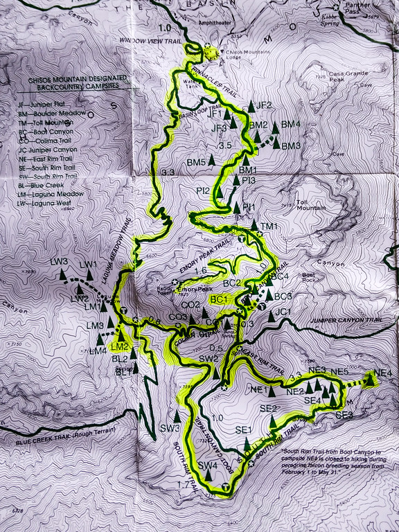 South Rim Trail Hiking Map