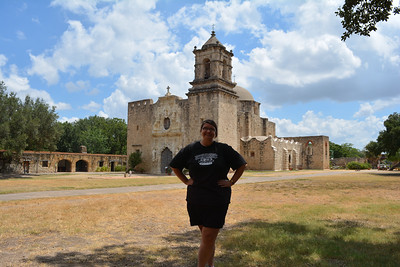 Heather in front of Mission San Jose church