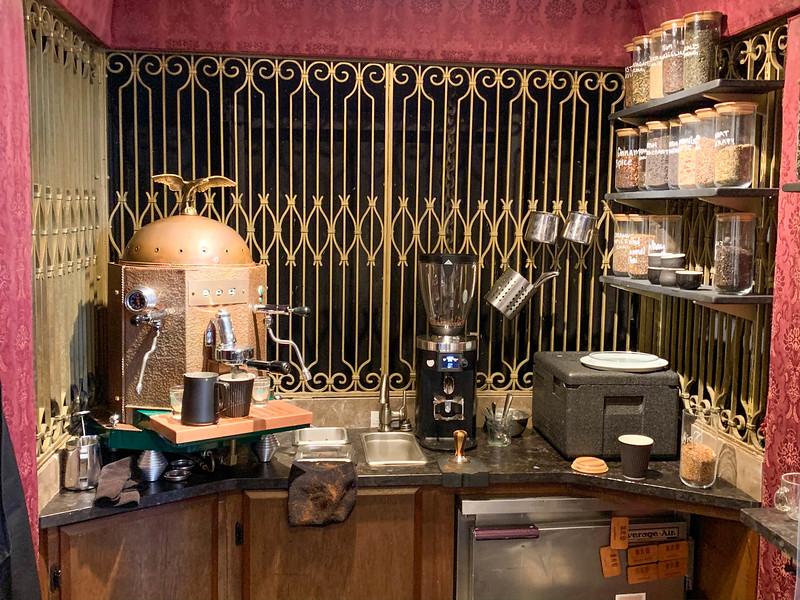 bru artisan coffee bar elevator