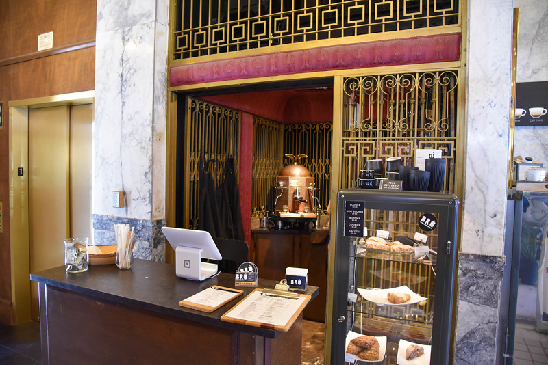 bru artisan coffee works elevator shaft