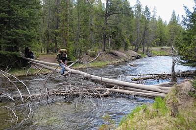 malheureusement, des les premiers metres, il faut franchir de cette façon la rivière, on trouve qu'on a passé l'age, et on change de plan, on part se balader jusqu'à Mammoth. La météo se dégrade
