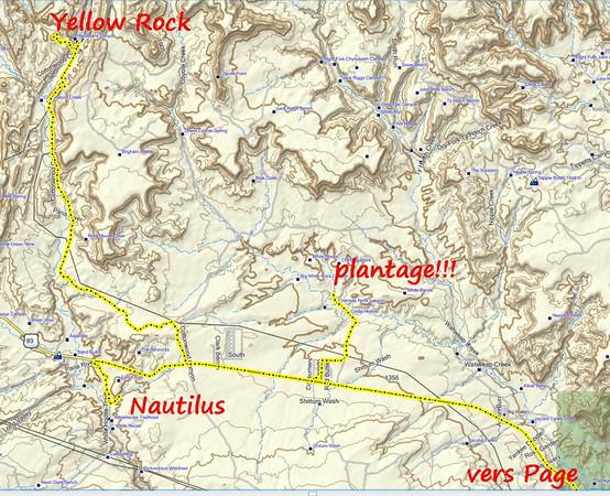 Le trajet du jour: d'abord Nautilus puis tentative vers les hoodos  de White Rim aboutissant au 'plantage' ; le gpx nous demande de traverser des barrières en barbelés infranchissables on termine par Yellow Rock, toujours magnifique