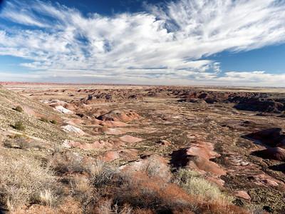 aujourd'hui, le planning prévisionnel, c'est Painting desert et Petrified forest. On commence par painted desert, et on se pele de froid