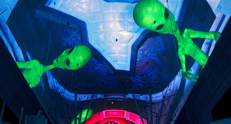 Fremont Street Experience: Space invaders 3.   Las Vegas, September 2006