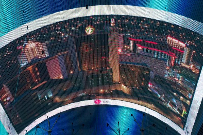 Fremont Street Experience: Space invaders 7.   Las Vegas, September 2006