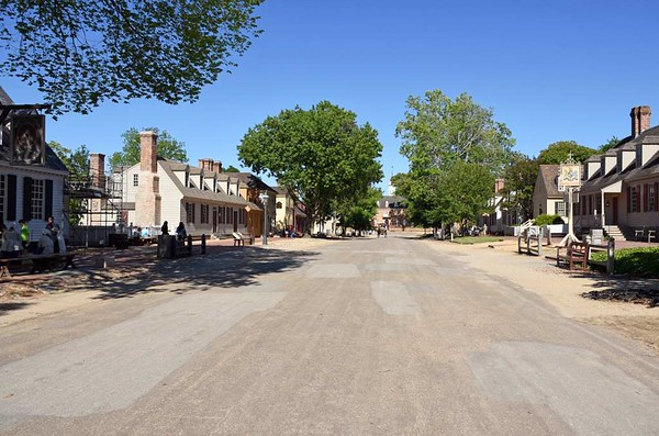 Welcome to Colonial Williamsburg, Virginia! 16 May 2017.  This view looks east along Duke of Gloucester Street towards the Capitol building.  Williamsburg was the capital of colonial Virginia 1699 - 1780.  History then passed it by,  As a result, some of its 17th and 18th century buildings survived, and their preservation or reconstruction led to the establishment of today's living museum.