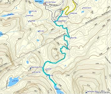 Le trajet de l'aller jusqu'au lac Mills, enregistré par MR Garmin!