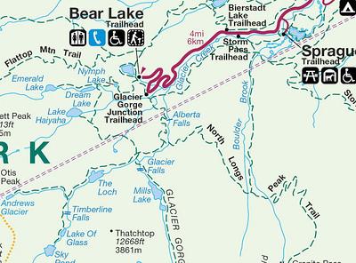 depuis Glacier George Junction Trailhead, nous voulions aller jusqu'à Mills Lake, et revenir par Lake Haiyaha, mais la neige bloque le chemin!