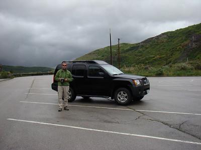 Puis on trace plein sud. On a pas mal de route aujourd'hui à avaler parking de Bridal Veil Falls (il fait très froid)Direction Springville, par une jolie route, mais sous des trombes d'eau. Ca commence bien