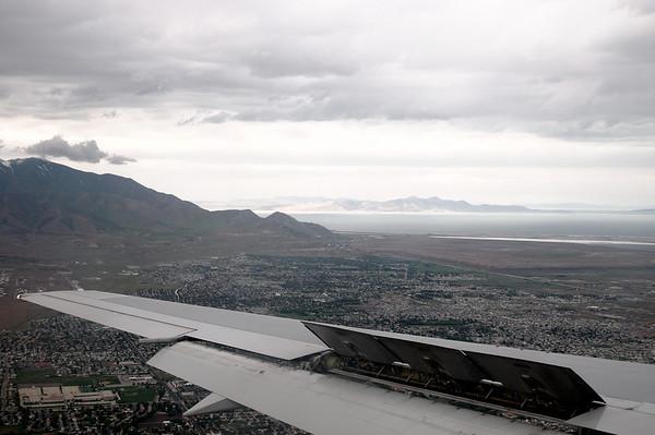 Au loin, Antelope Island vue du ciel