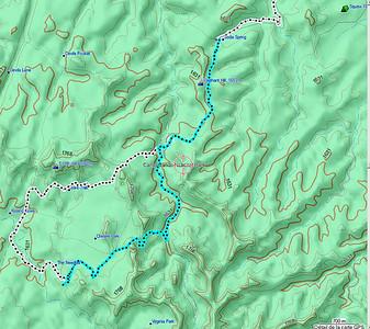 en bleu, le trajet du retour à partir du tunnel de Joint Trail