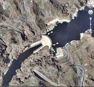 La fin du lac Mead et le barrage vus de google